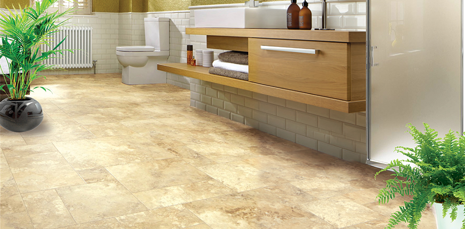 The look of Upscale Limestone using Laminate Flooring in a Bathroom from Foster Flooring