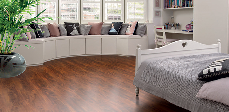 Foster Flooring Laminate Flooring replicating Merbau Wood for a Child's Bedroom