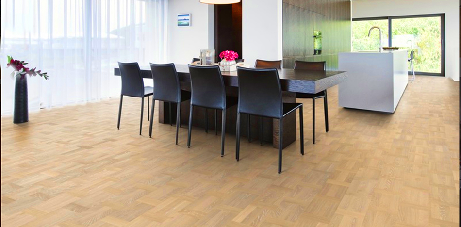 Real Hardwood Flooring used in Open Concept Kitchen & Dining Room Area from Foster Flooring