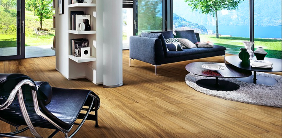 The rich tones amd distinctive patterns of a walnut living rom Floor from Foster Flooring